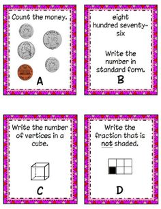 Second grade math task cards-great for math center---FREE
