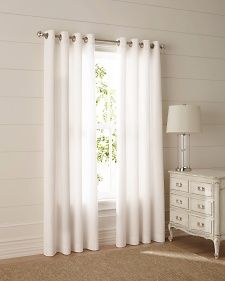 #WindowTreatments: Airy white grommet panels make a bedroom simple and modern. #MarthaWindow #JCPenney #redecorate