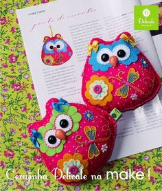 Colorful felt owls