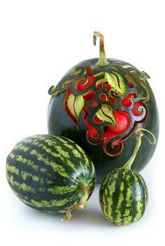 foods, fruit carvings, watermelon art, watermelon carving, food design, edible art, fruit art, foodart, food art