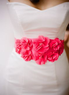Love the idea of adding a fun belt to a wedding dress for the reception!