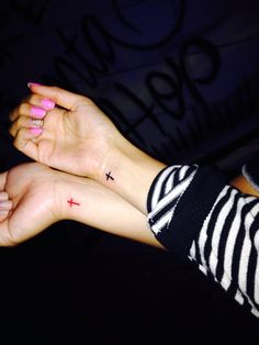 Small cross tattoos with your bestfriend