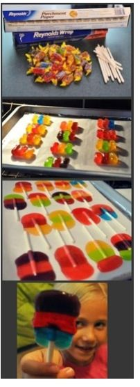 Make your own jolly rancher lollipops. 300 degrees in the oven. 10 minutes
