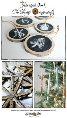 Check out these fabulous Christmas Junk Ornaments, features and a themed link party via http://www.funkyjunkinteriors.net/