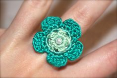 Crochet Ring Daisy Flower Teal Ombre by CatWomanCrafts on Etsy, $6.00