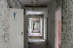 A toilet block in the abandoned city.