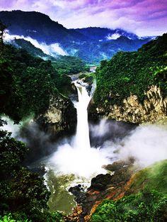 Waterfall in amazon rainforest Amazon River waterfall, Peru.