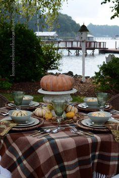 Love the plaid throw on the table! #ThanksGiving #Home #Decor ༺༺  ❤ ℭƘ ༻༻