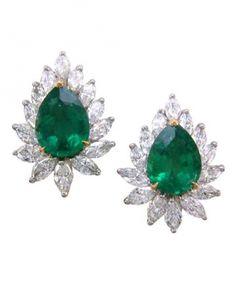 Emerald-and-diamond earrings by Oscar Heyman