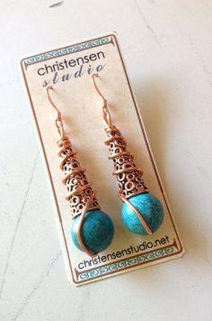 wrap earring, christensenstudio, wire wrapped earrings