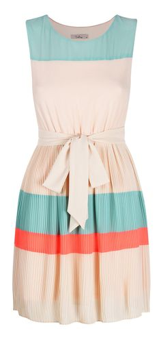 Coral + Teal Colorblock Dress