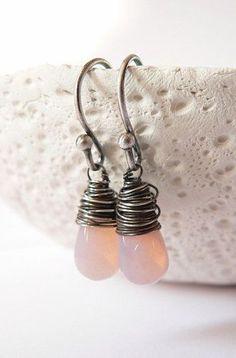 Light pink drop beads sterling silver earrings, wire wrapped earrings, casual dangle earrings