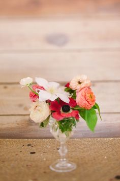 Eclectic pink and peach centerpiece