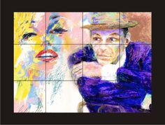 Unique water color sublimated on 12 ceramic tiles of the famous Marilyn Monroe and Frank Sinatra