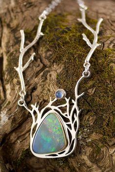 Necklace | Naomi Assenheim ~ Grey Wing Creations. Black opal, fire opal, australian opal, moonstone, 18kt yellow gold, sterling silver