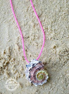 Make Your Own Seashell Necklace with kids.  What an amazing way to use your seashell collection this summer!