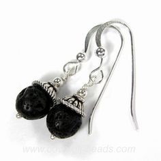Lava Earrings Black Lava Rock Sterling Silver Dangle Grecian Love | Covergirlbeads - Jewelry on ArtFire