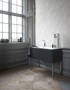 wood floor pattern gray painted molding textured wall simple vanity bathroom