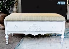 Repurpose Idea~ Cut down an old dresser, replace the top of dresser to fit, add a cushion and now you have a bench with a pull out drawer.