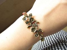 Adjustable Vintage Plum flower Bracelet  with Red by sevenvsxiao, $6.50