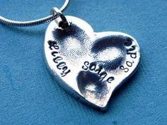 Fingerprint Jewelry 3 Childs Fingerprints Silver Heart by LilyBuds, $98.00
