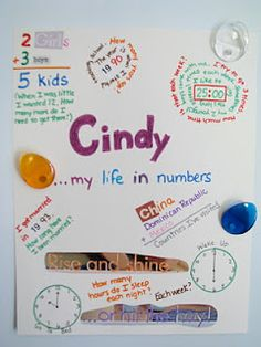 My Life in Numbers: Interesting idea for a project to get kids thinking about math and their own life.  Maybe a fun project for the family to do together and then kids can bring in.