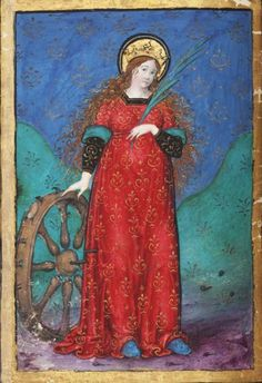 Book of Hours, Italy (first quarter of the 16th century). St Catherine of Alexandria and her wheel