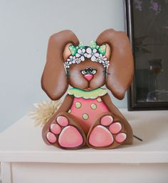 "Spring Easter baby Bunny hand painted wood craft shelf sitter ""Becca"". $20.50, via Etsy."