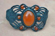 Fire Opal Macrame Bracelet/ Micromacrame/ Macrame Jewelry/ Healing Stone/ Orange Stone/ Peruvian Jewelry via Etsy