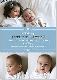 another cute sibling photo birth announcement