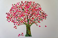 use a heart punch and either old scrapbook paper or magazines to create. Makes a nice valentine's decoration if you frame it.
