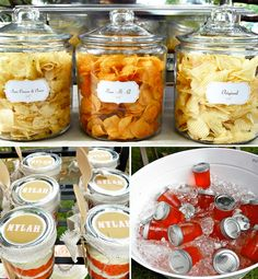 Kids pony party but TONS of cute ideas for a casual BBQ - love the chips in the jars, and their dessert bar, the caramel corn cups... awesome!