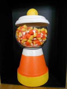 Candy Corn Clay Pot Candy Dish. This is just way too cute