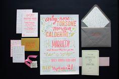 Arley-Rose + Morgan's Neon Wedding Invitations
