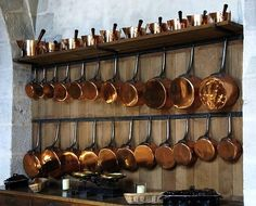 Copper cookware - chateau Vaux le Vicomte in Maincy, France. Image via Divine Distractions.