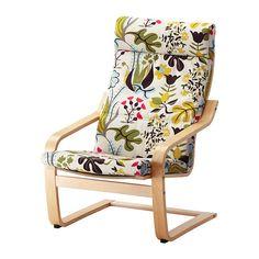 POÄNG Chair - Blomstermåla multicolor, birch veneer - IKEA