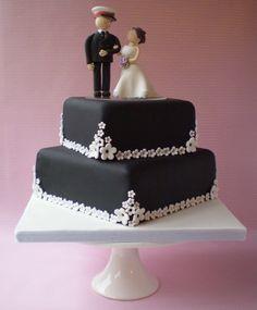 Black Wedding Cake #weddingcakes beauti cake, wedding cakes, cake weddingcak, cake toppers