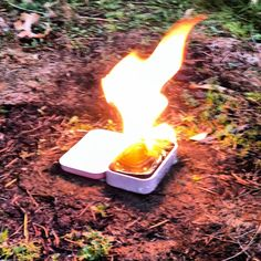 Homemade altoid tin long burning heat source for backpacking and survival kits