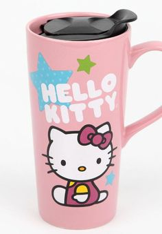 Ceramic #HelloKitty lid with a pop off lid - take this cutie anywhere!