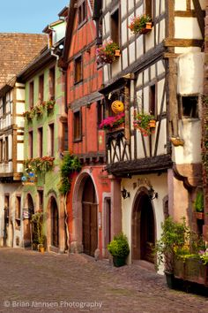 Half-Timbered buildings in Riquewihr, Alsace Haut-Rhin France. © Brian Jannsen Photography