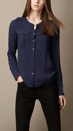 Burberry Brit Collarless Voile Shirt