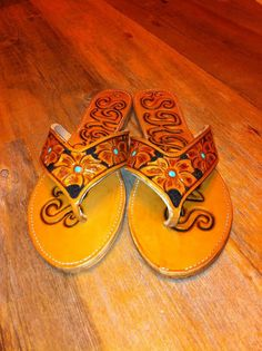 Custom tooled leather sandals, love these!