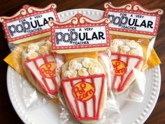 easy step by step decorations to make these cookies and come with a free topper printable too for teacher gift but I think you could use the free topper on popcorn as well,