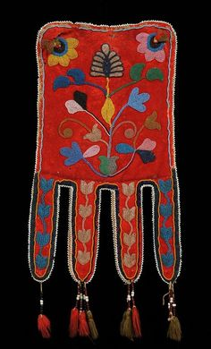 Red River Metis Beaded Octopus Bag ca. 1840-1860 with Floral Design on Red Trade Cloth and Wool Tass