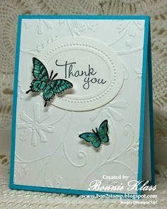 "By Bonnie Klass. Uses Cuttlebug ""Stylized Flowers"" and Stampin' Up ""Designer Frames"" embossing folders."