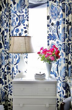farm, house tours, pink flowers, blank wall, window, color, blue bedrooms, guest rooms, curtain