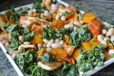 Pumpkin and cannellini bean salad with haloumi and kale.