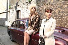 fur hat, animal-print coat