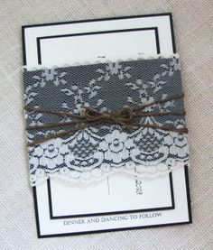 Vintage Lace Rustic Black Country Shabby Chic Wedding Invitation