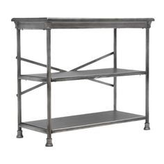 Featuring a dark silver hue and 2 shelves, this iron-framed bookshelf makes the perfect addition to your master suite or living room.